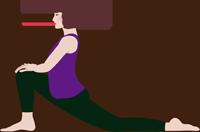 大腰筋を伸ばすストレッチをしている女性のイラスト